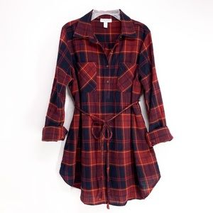 Liz Lange Maternity Buffalo Plaid Tunic Shirt Med